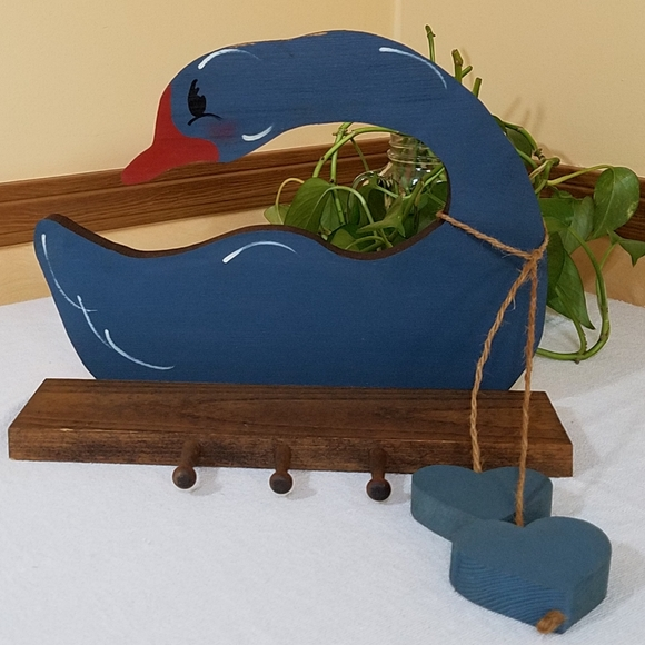 Hand Crafted Other - Vintage Wood Goose Shelf with Hooks